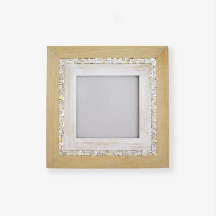 Cornice portafoto quadrata in legno e mosaico